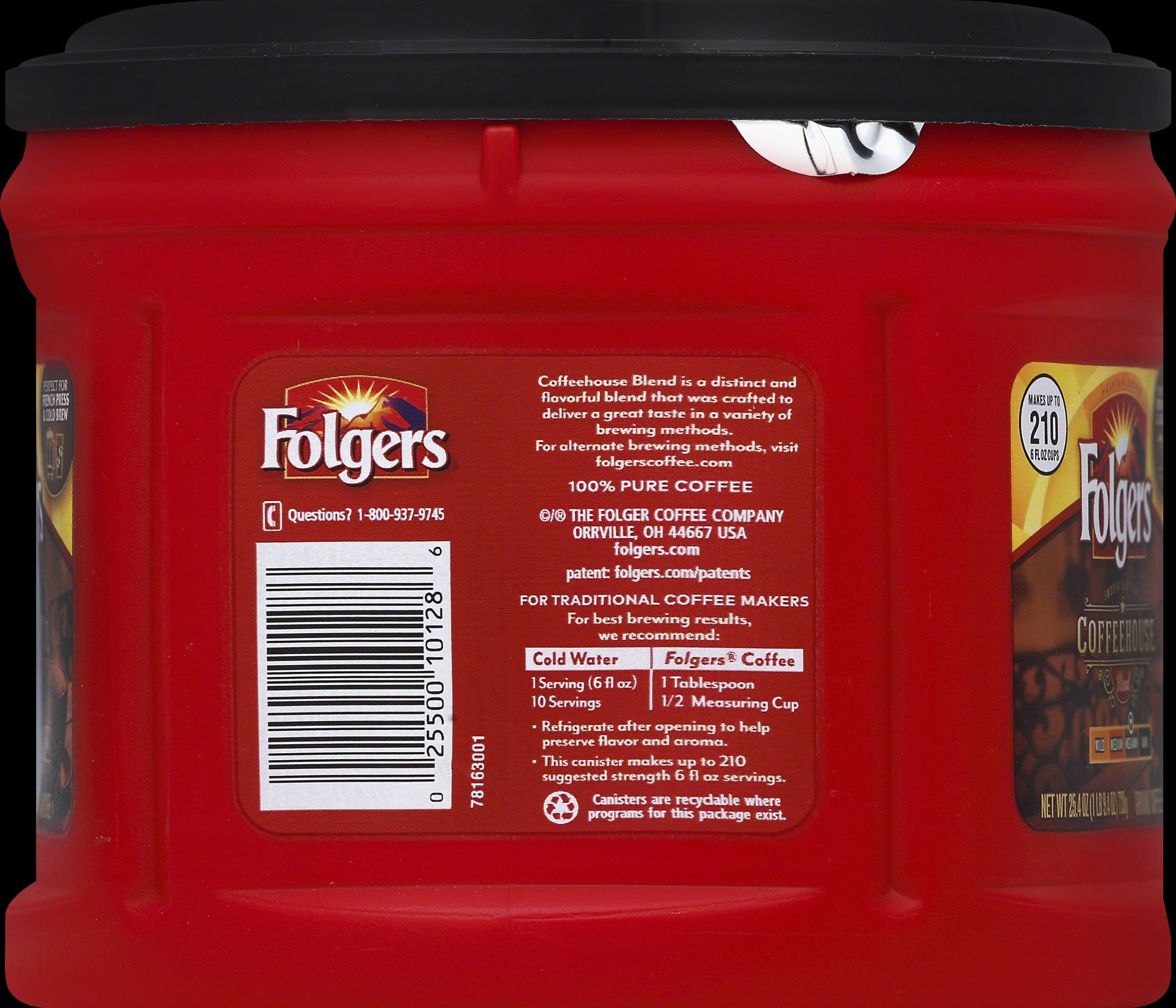 Folgers Coffeehouse Blend Ground Coffee, Medium-Dark Roast, 25.4 Ounce (Pack of 6) by Folgers