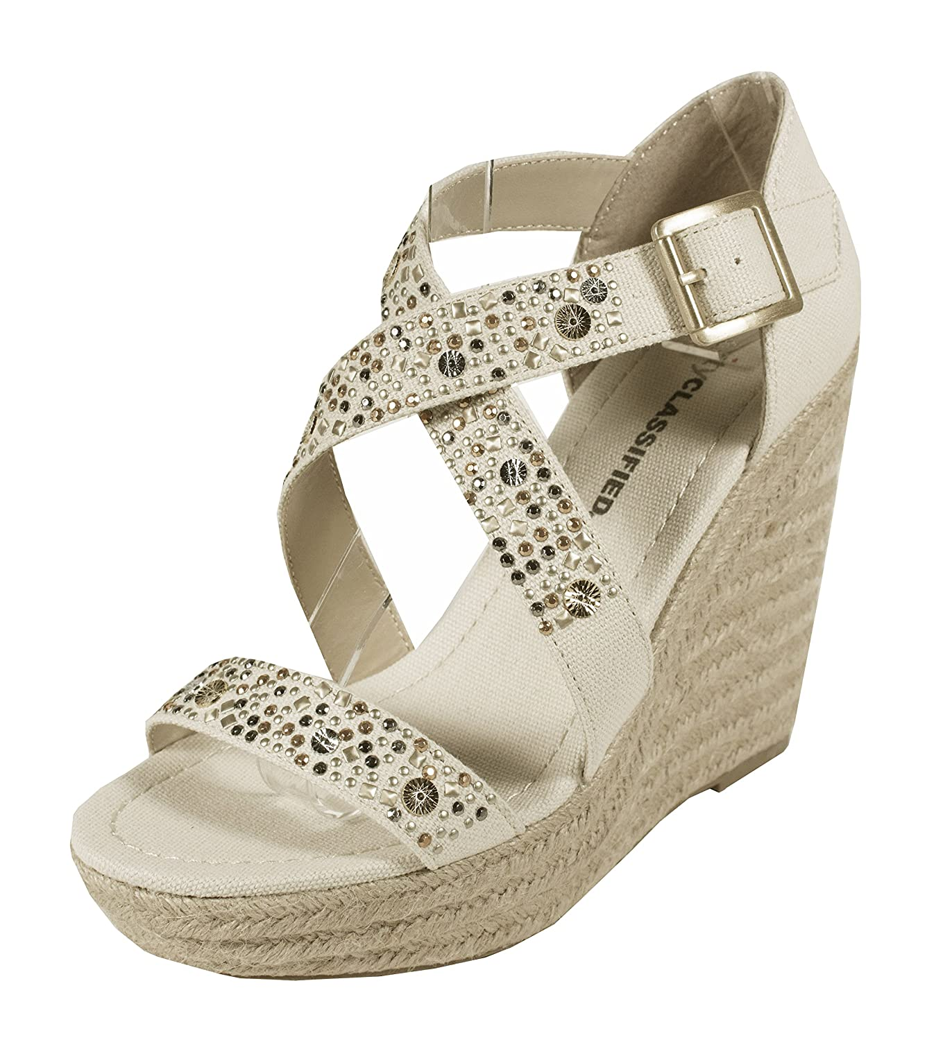 SOFIA! City Classified Women's Studded Detailing CrissCross Strap Espadrille Platform Wedge Sandal in Beige Cotton B00BFGBRXC 6.5 B(M) US