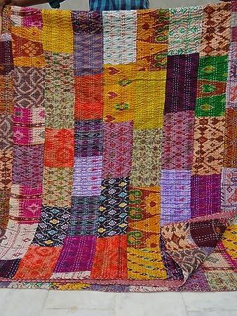 Amazon.com: Patola Silk Patch Work Kantha Quilt , Kantha Blanket ... : how to kantha quilt - Adamdwight.com