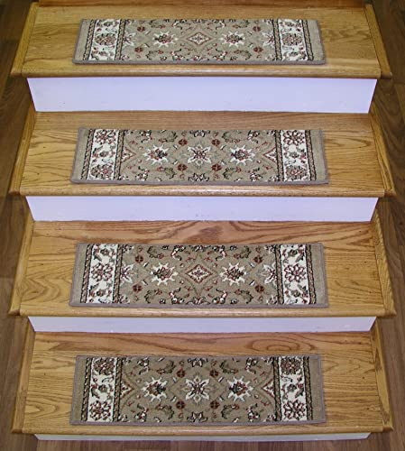 151414 – Rug Depot Traditional Non Slip Carpet Stair Treads – Set of 13 Treads 26 x 7.5 – Applied with Non-Slip Tabs – Beige Background – Radici Como 1592 Beige – 100 Olefin