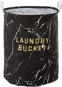 ASSORTED LARGE WATERPROOF LAUNDRY BASKET (BLACK MARBLE)