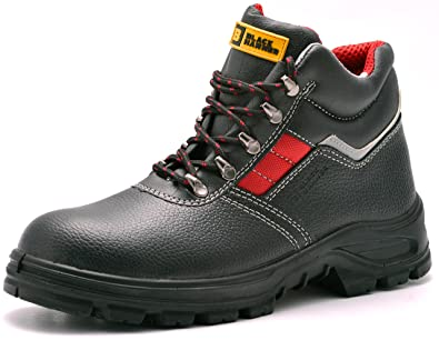 0a0ebceef95 Mens Safety Boots S3 SRC Steel Toe Cap Work Shoes Ankle Leather Steel Mid  Sole Protection Black Hammer 5993