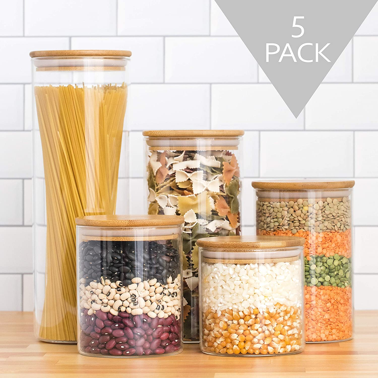 Glass Canisters Set of 5 - Glass Storage Containers   Glass Jars with Bamboo Lids   Spice Jars with wood lids   Glass Containers with Airtight lids  Pantry Storage Jars for Pasta, Coffee, Sugar, Candy