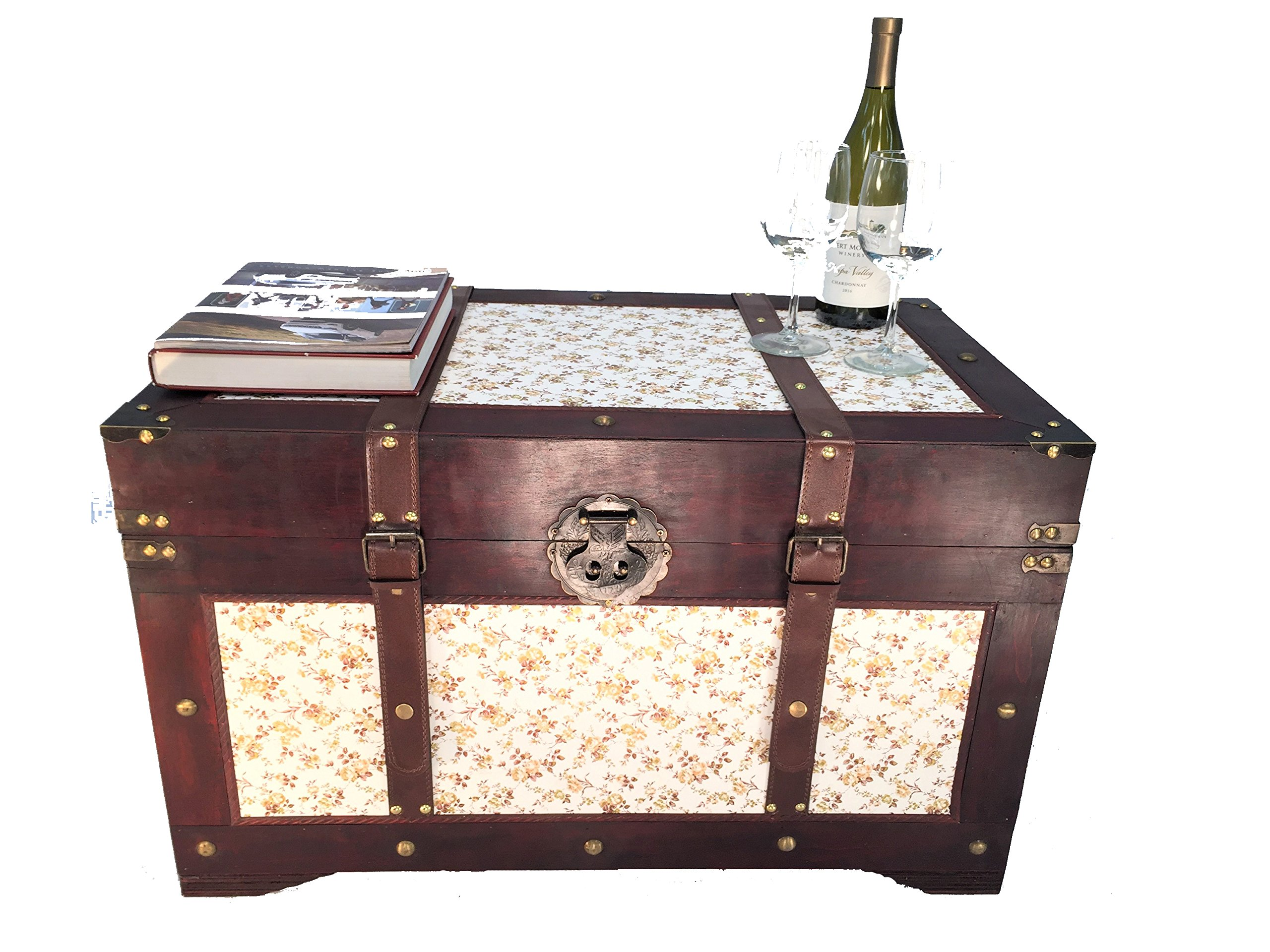 Savannh Large Wood Storage Trunk Wooden Treasure Chest Gold