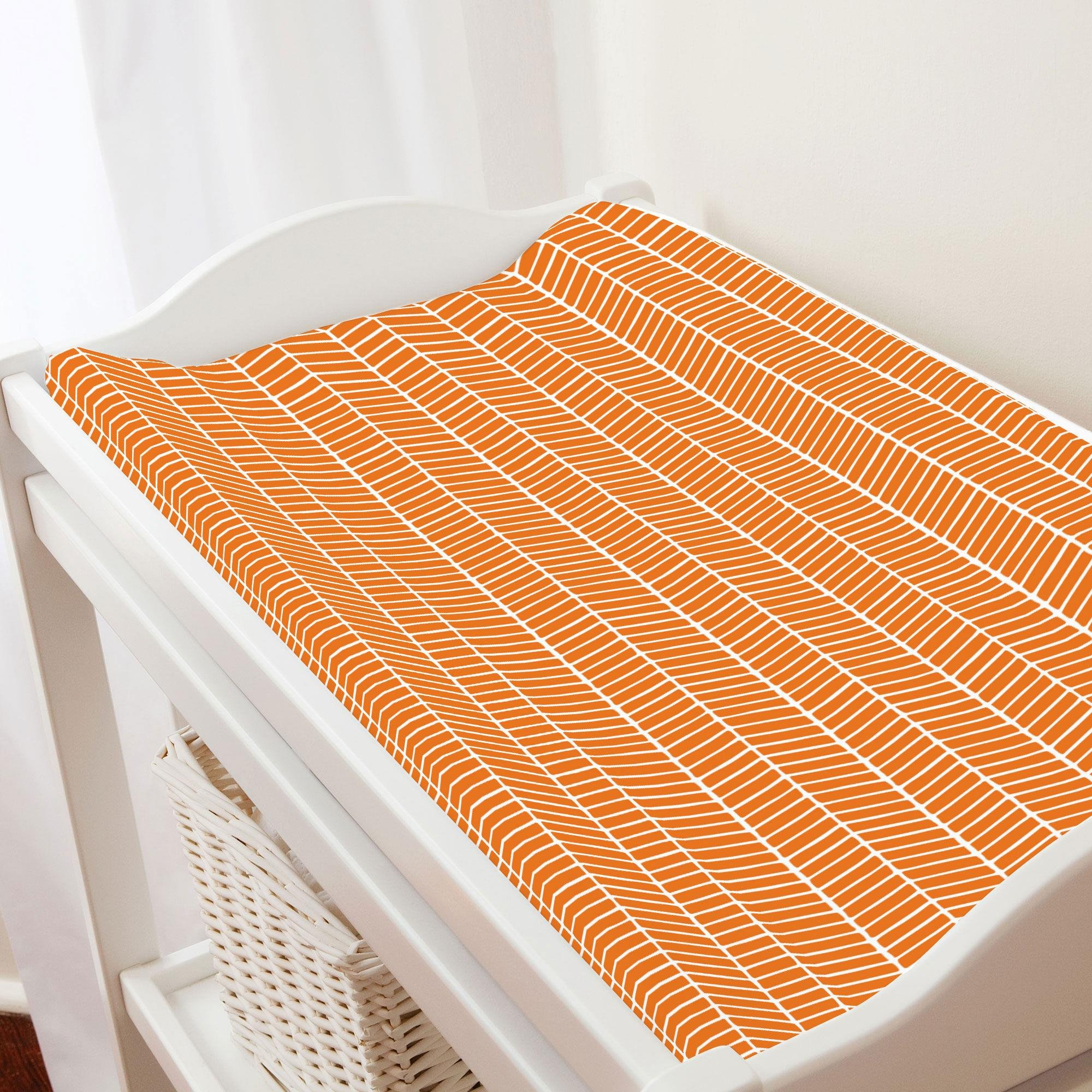 Carousel Designs Orange Herringbone Changing Pad Cover - Organic 100% Cotton Change Pad Cover - Made in The USA