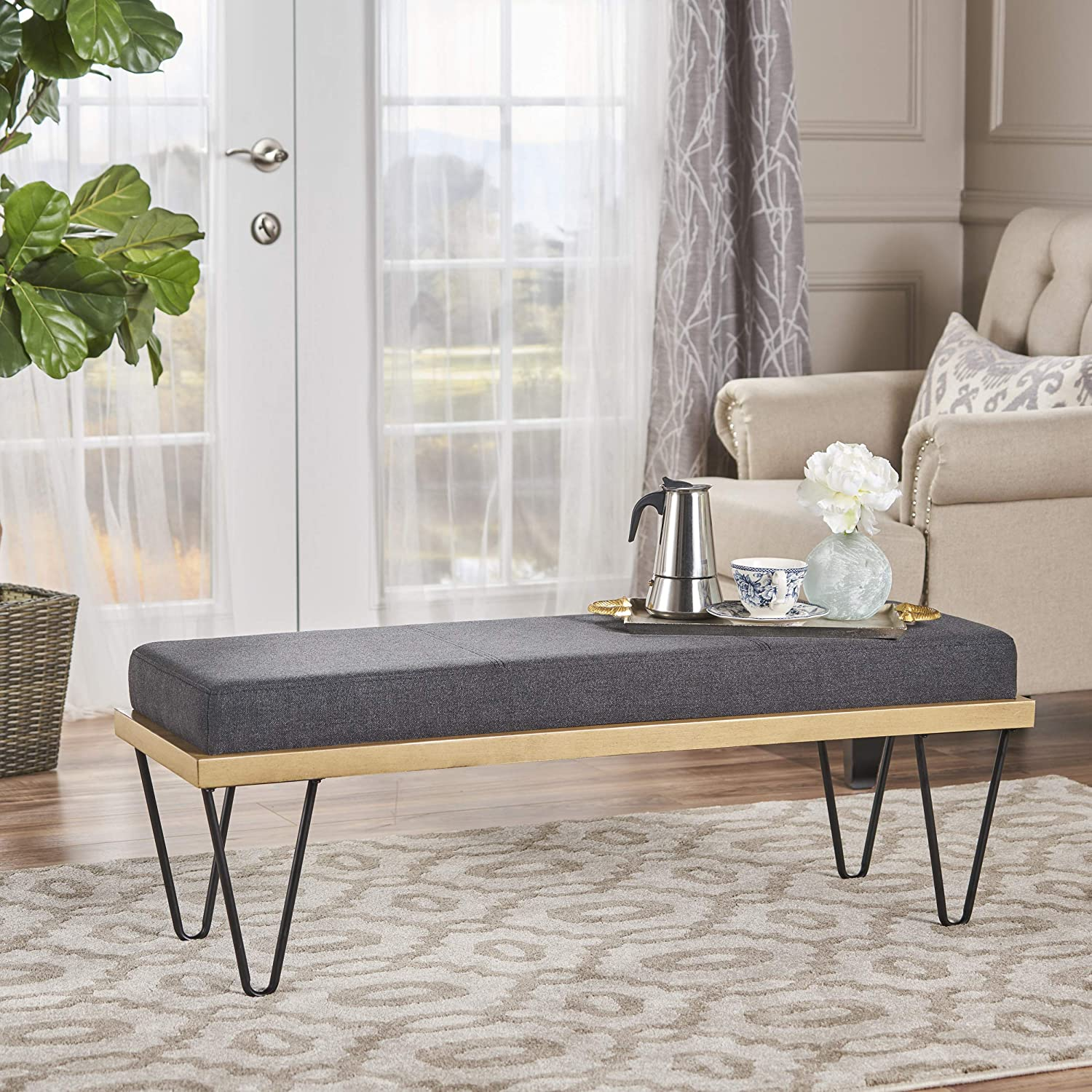 Christopher Knight Home Elaina Bench Perfect for Dining Table or Entry Way Danish, Minimal, Mid Century Modern Design Hairpin Leg Fabric, Dark Charcoal