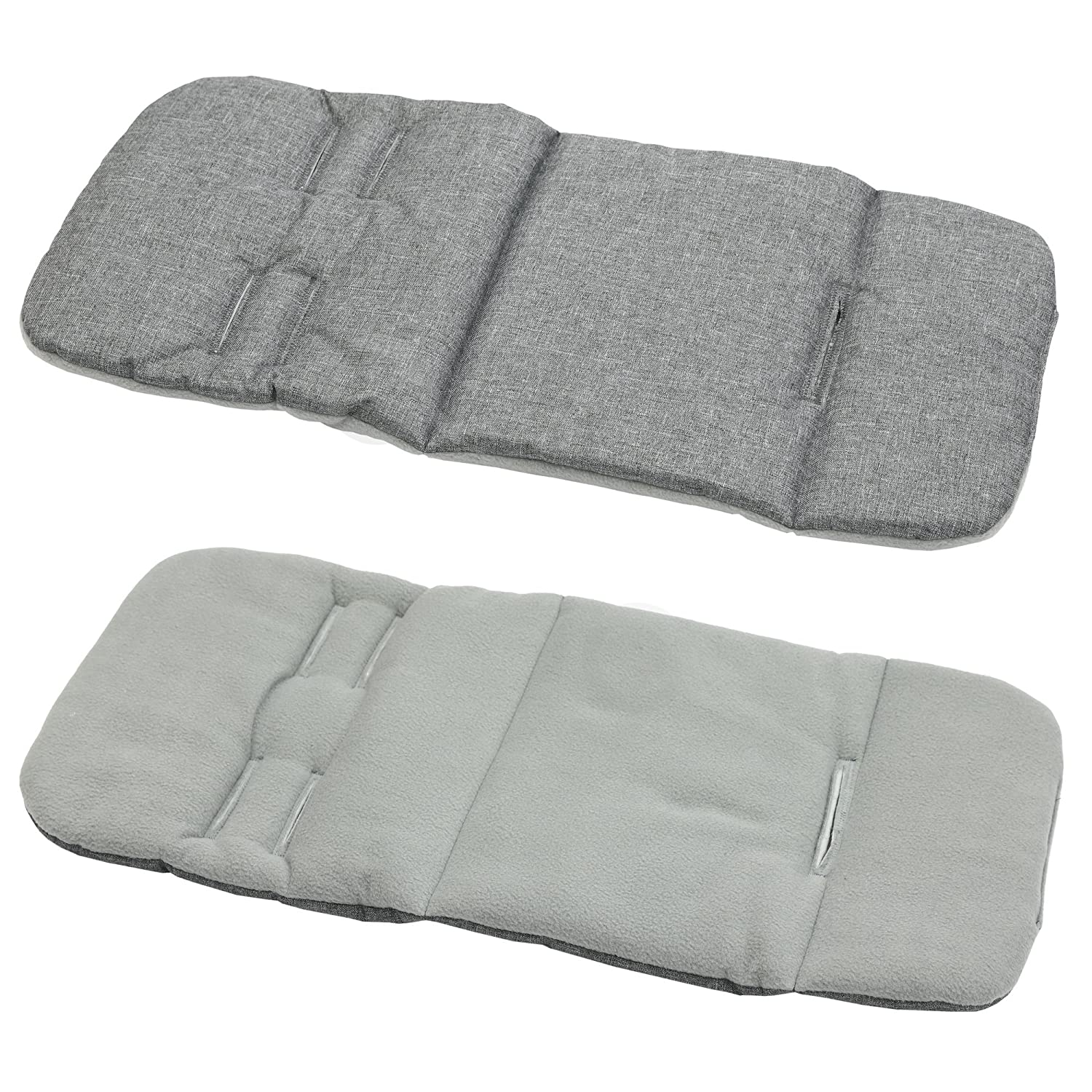 Reversible Pram Insert Liner Covers 5pt Universal (Grey Melange/red Fleece)