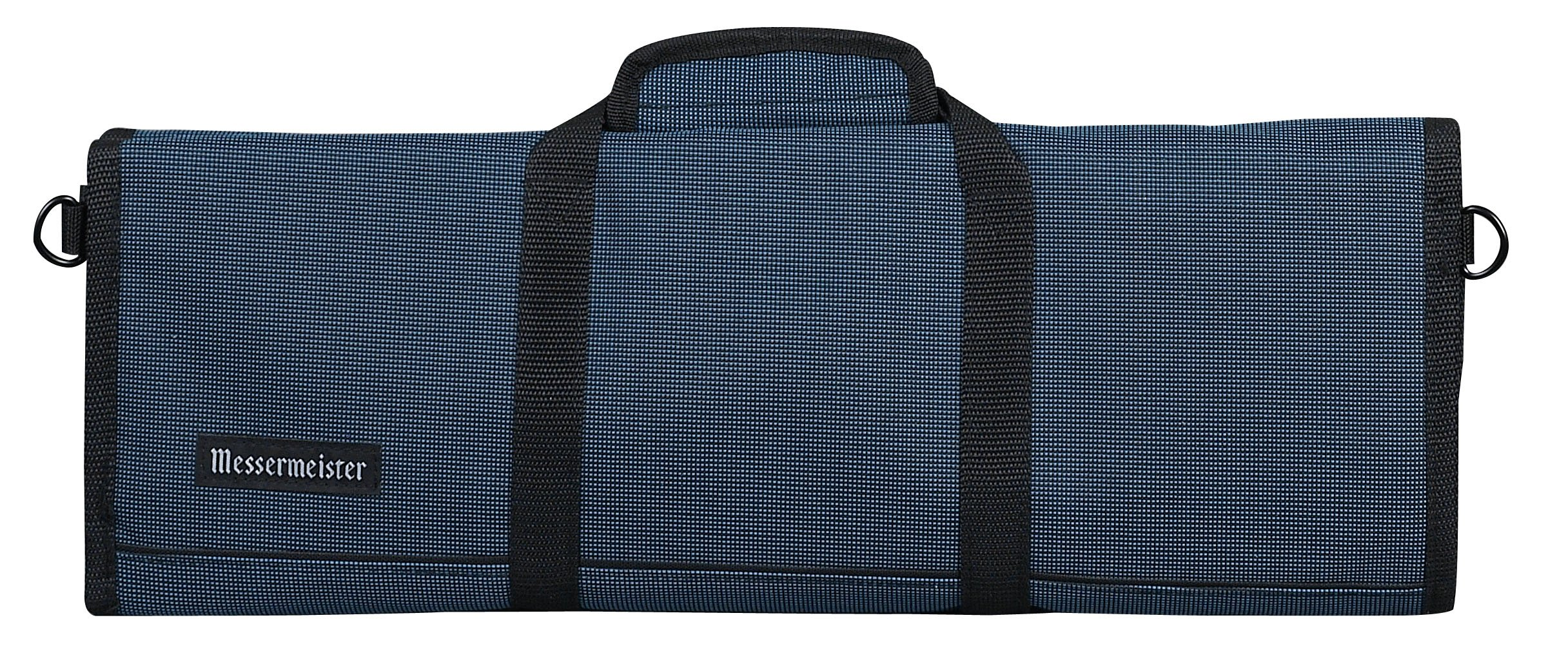 Messermeister 12-Pocket Padded Knife Roll, Black and Blue Woven by Messermeister (Image #1)