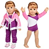 Gymnastics Outfit for American Girl Dolls: 4 Piece Doll Outfit (Includes Performance Leotard, Warmup Pants, Pullover, and Sneakers)