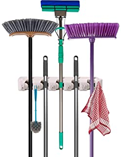 Mop and Broom Holder - Garden Tool Organizer - Wall Mounted Organizer - 5 Slots and