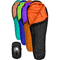 Goose Down Sleeping Bag for Backpacking – Eolus 15 & 30 Degree F 800 Fill Power Ultralight, Ultra Compact Down Filled Backpack Packable 3/4 Season Mens and Womens Lightweight Mummy Bags Cold Weather