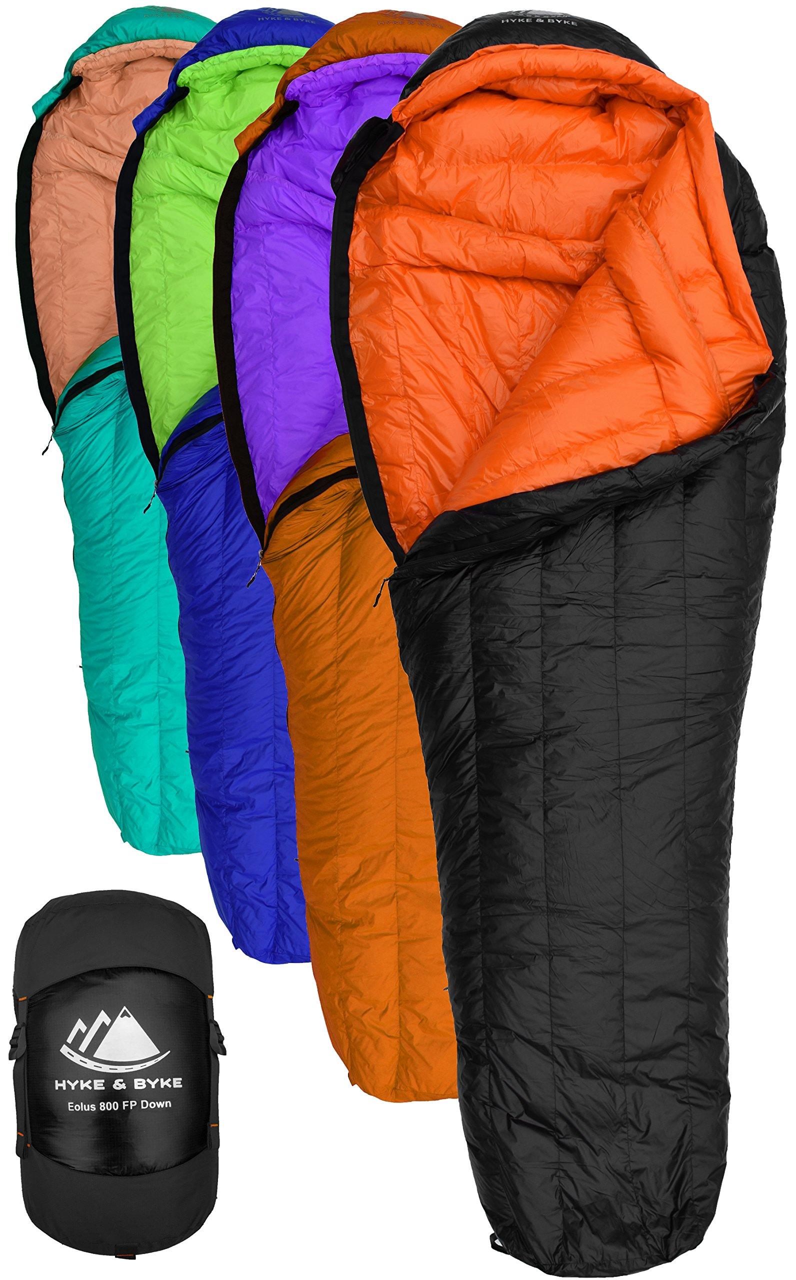 Hyke & Byke Eolus 15 & 30 Degree F 800 Fill Power Hydrophobic Goose Down Sleeping Bag with ClusterLoft Base - Ultra Lightweight 3 Season Men's and Women's Mummy Bag Designed for Backpacking 3