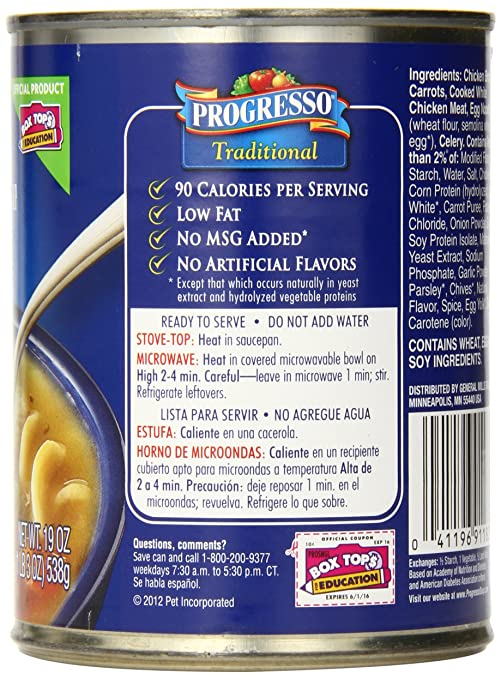 Amazon.com : Progresso Traditional Soup, 99% Fat Free Chicken Noodle, 19-Ounce Cans (Pack of 12) : Packaged Vegetable Soups : Grocery & Gourmet Food