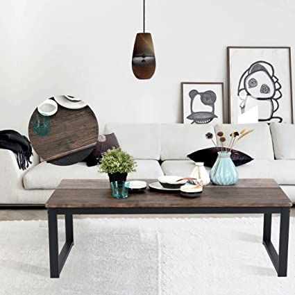Aingoo Rustic Coffee Table Large Sofa Table Mid Century Square With Metal  Frame Dark Brown