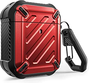 SUPCASE Unicorn Beetle Pro Series Case Designed for Airpods 1 & 2, Full-Body Rugged Protective Case with Carabiner for Apple Airpods 1st & 2nd (Red)