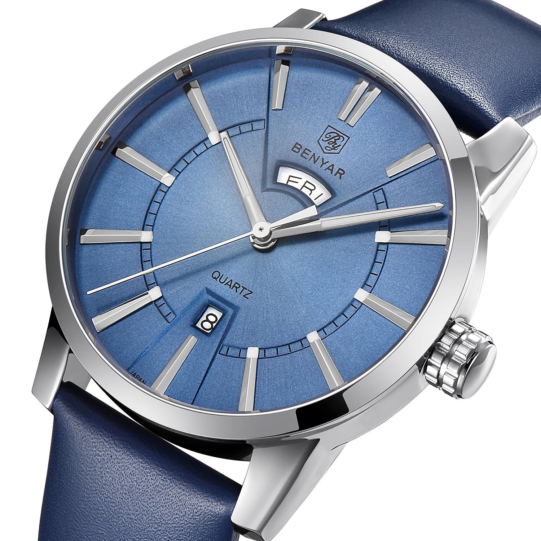 benyar防水30 M本革ストラップLuxury Quartz Watchクラシック長方形ケース自動日付ファッションカジュアルメンズ時計by-5101 シルバーブルー B07CQSL68Qシルバーブルー