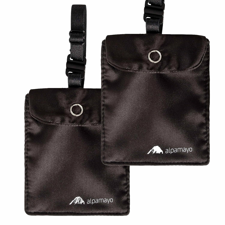 Alpamayo® BH-Tasche 2er Set, geheimer Brustbeutel für Bargeld und Wertsachen, Geldbeutel für Reise und Sport, schwarz ALP-BRA