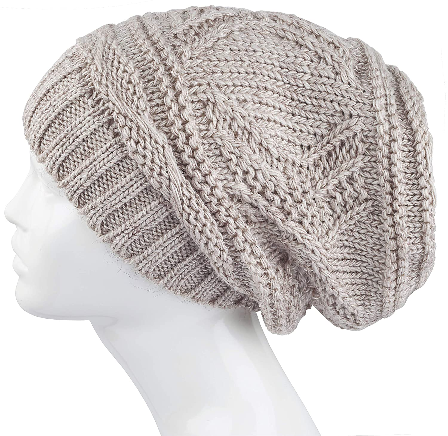93b2d8f261f Lilax Knit Slouchy Oversized Soft Warm Winter Beanie Hat Beige at Amazon  Women s Clothing store