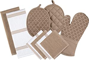 Sticky Toffee Silicone Printed Oven Mitt & Pot Holder, Cotton Terry Kitchen Dish Towel & Dishcloth, Tan, 9 Piece Set