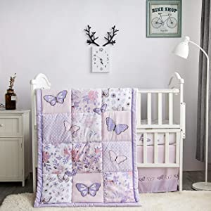 La Premura Butterfly Baby Nursery Crib Bedding Set for Girls – Butterfly 3 Piece Standard Size Crib Bedding Sets in Pastel Pink and Purple