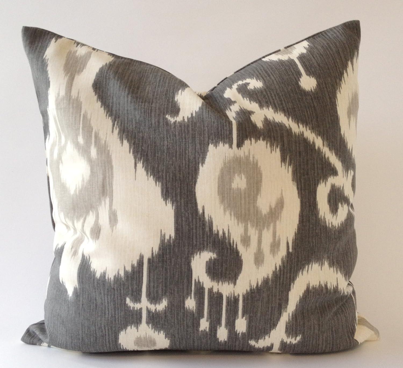 amazoncom set of   ikat design decorative throw pillows covers  - amazoncom set of   ikat design decorative throw pillows covers mediumweight cotton print invisible zipper closure (bluetanmocha x) home