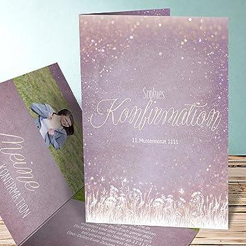Einladung Zur Konfirmation Schreiben, Zauberlicht Konfirmation 10 Karten,  Vertikale Klappkarte 105x148 Inkl. Weiße