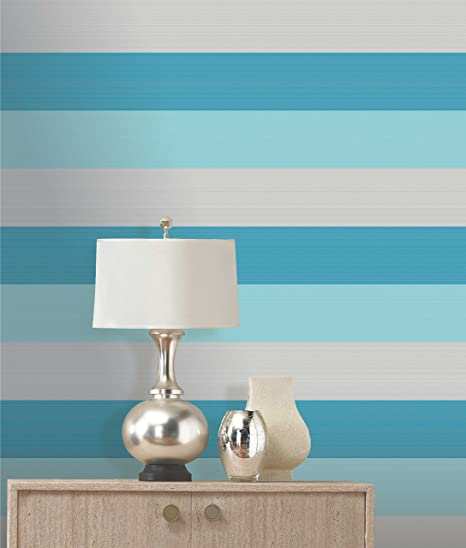 Olivia Ii Aqua Teal Silver Striped Wallpaper 6163 Amazoncouk