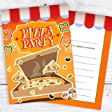 pizza party invitations package of 8 amazon co uk toys games