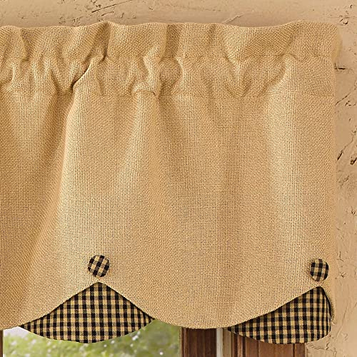Park Designs Burlap Check Lined Scalloped Valance, 58 x 15 , Black