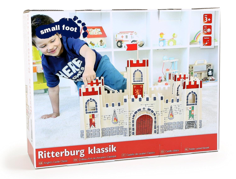 small foot 4776 Ritterburg Klassik aus Schichtholz mit Zugbr/ücke und 5 T/ürmen sowie einem gro/ßen Innenhof