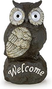 Welcome Owl Solar Powered Outdoor Decor LED Garden Light
