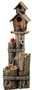 Alpine Corporation WCT1002 Three-Tiered Birdhouse w/Cardinal Fountain, 35 Inch Tall
