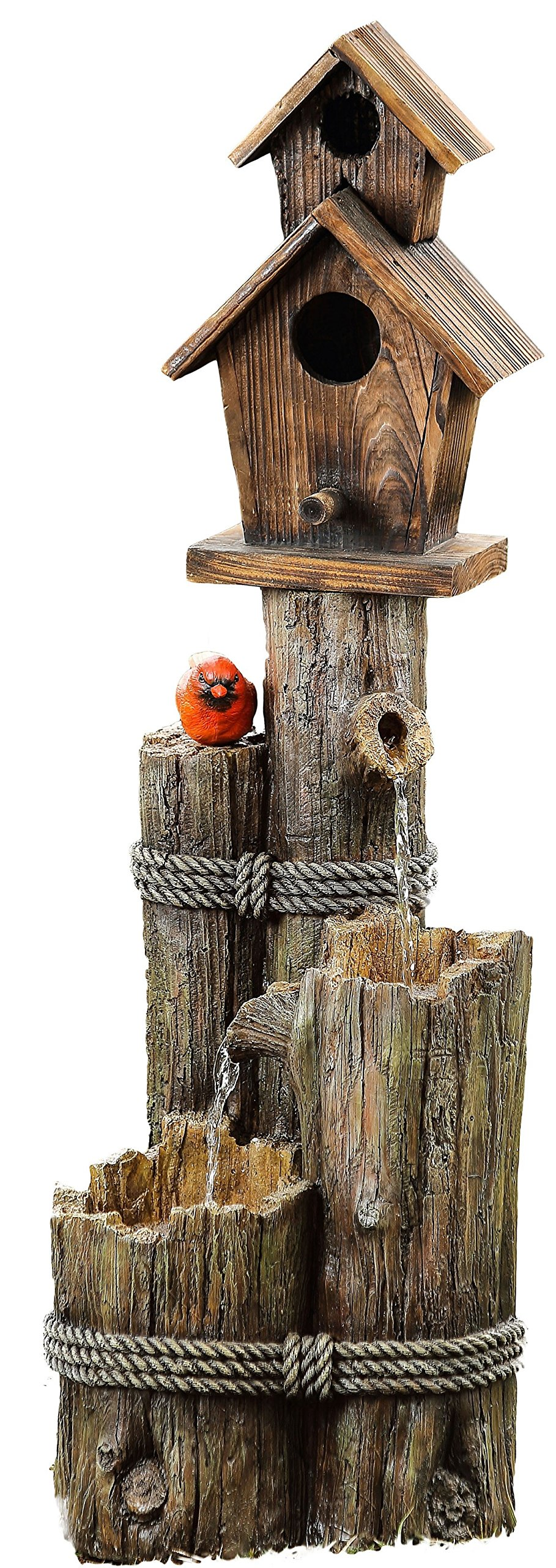Alpine Corporation Three Tiered Birdhouse with Cardinal Fountain