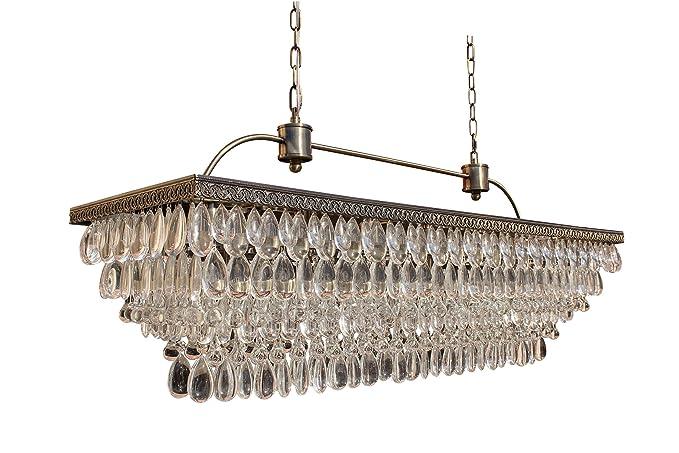 The Weston 40 Inch Rectangular Glass Drop Crystal Chandelier, Antique Brass - The Weston 40 Inch Rectangular Glass Drop Crystal Chandelier