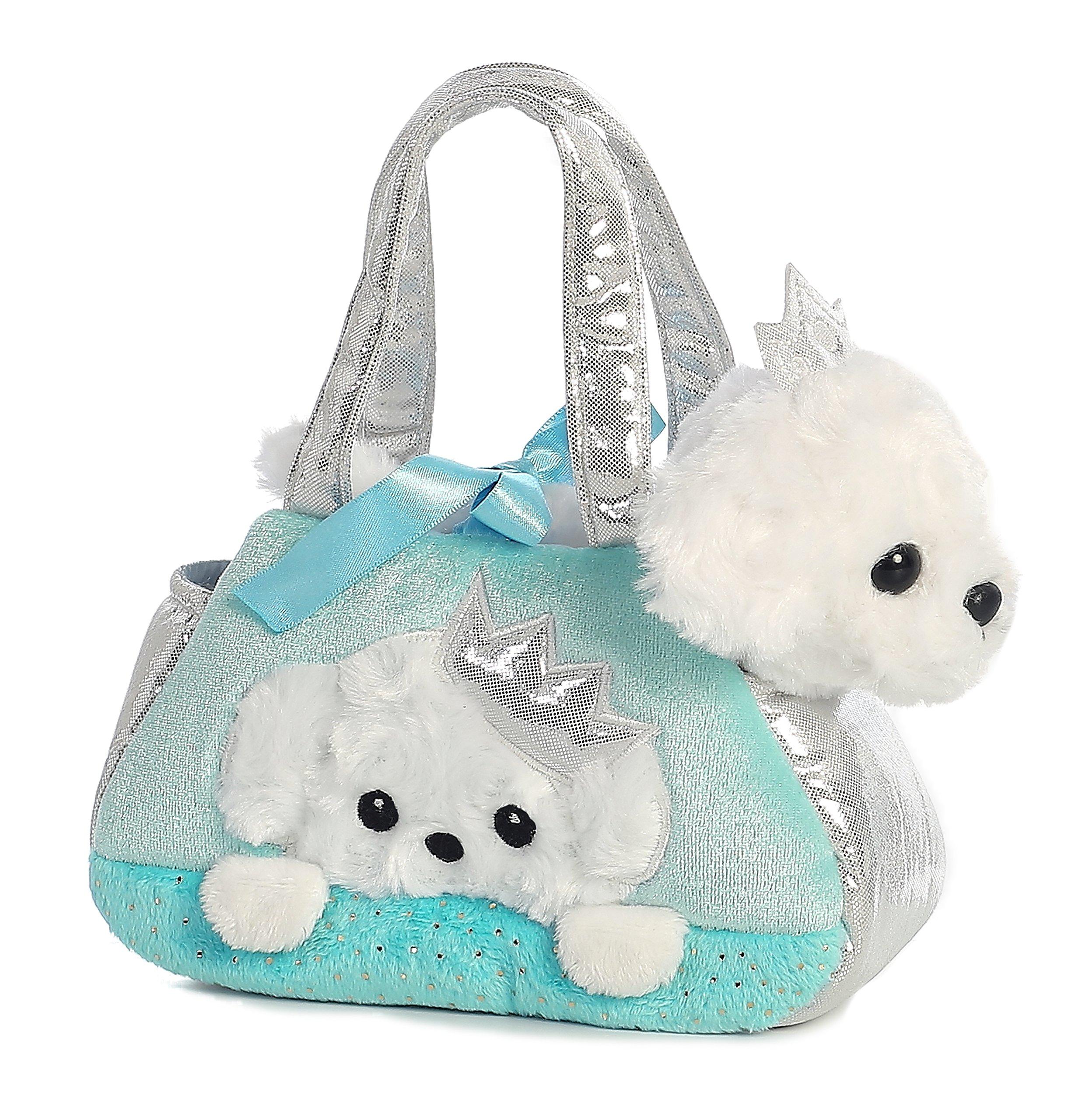 Aurora World Fancy Pals Pet Carrier, Peek-A-Boo Princess Puppy Teal, White, 7 inches