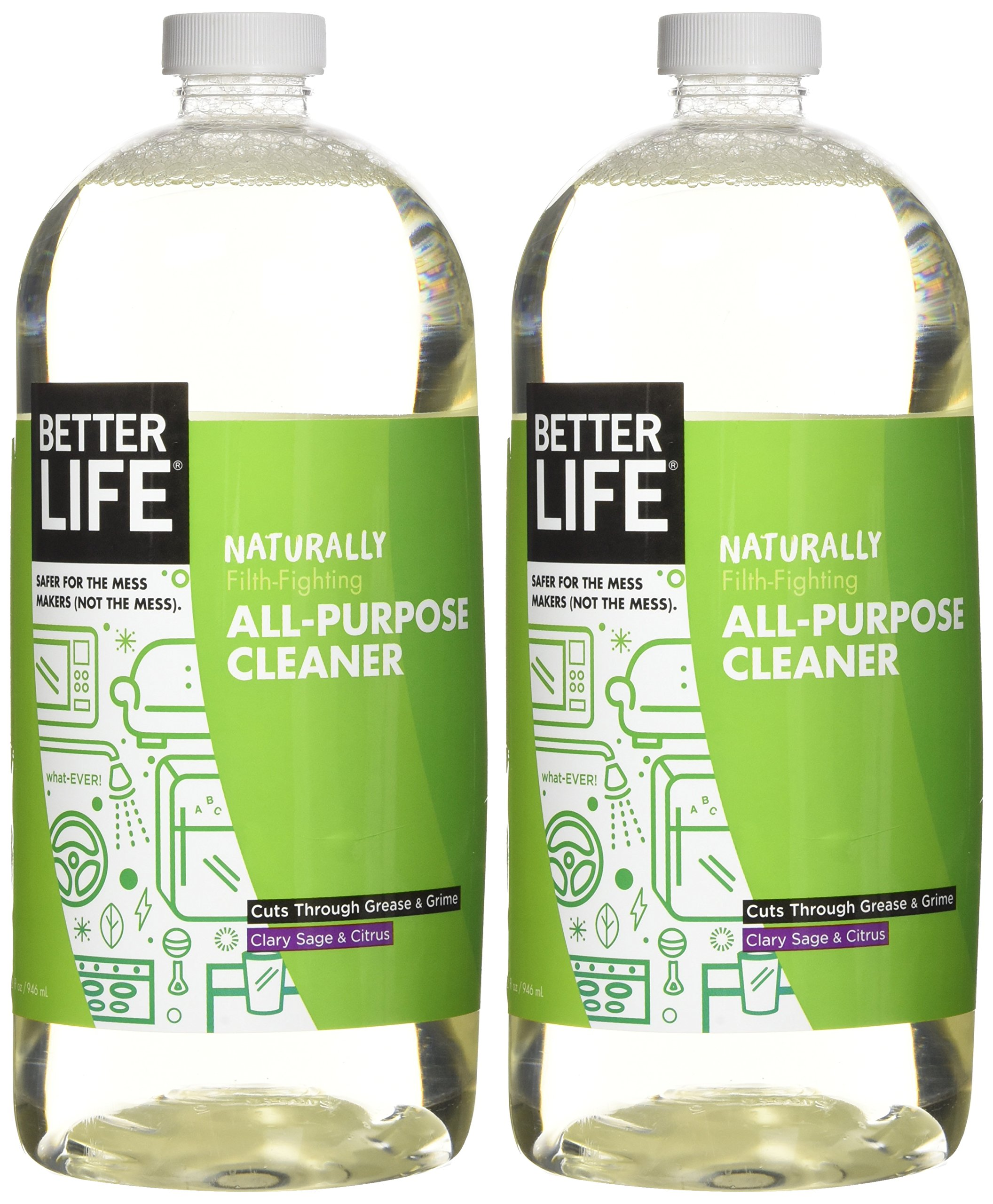 Better Life Natural All-Purpose Cleaner, Safe Around Kids & Pets, Clary Sage & Citrus, 32 Ounces (Pack of 2) by Better Life (Image #2)