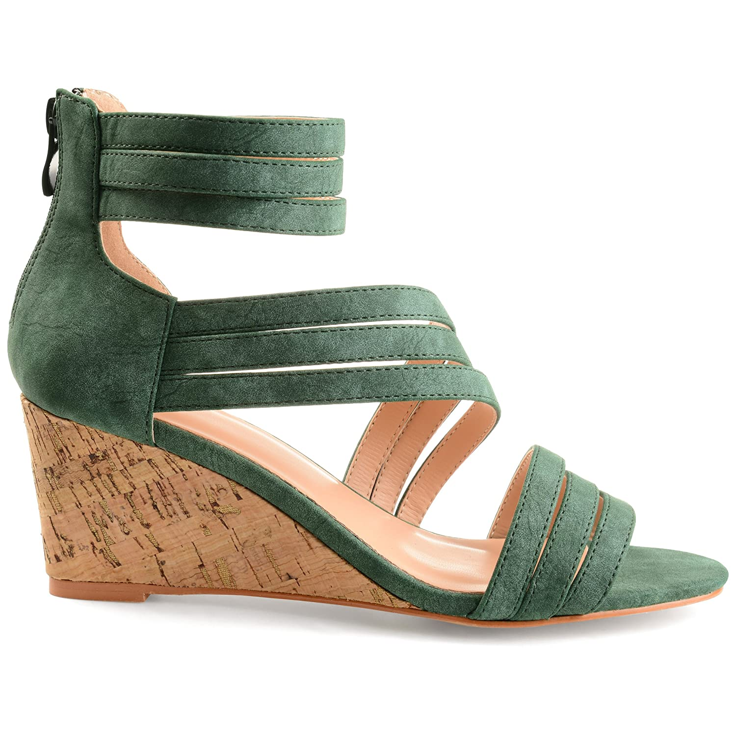 4c684c30677 Womens Lacey Strappy Faux Leather Faux Cork Wedges