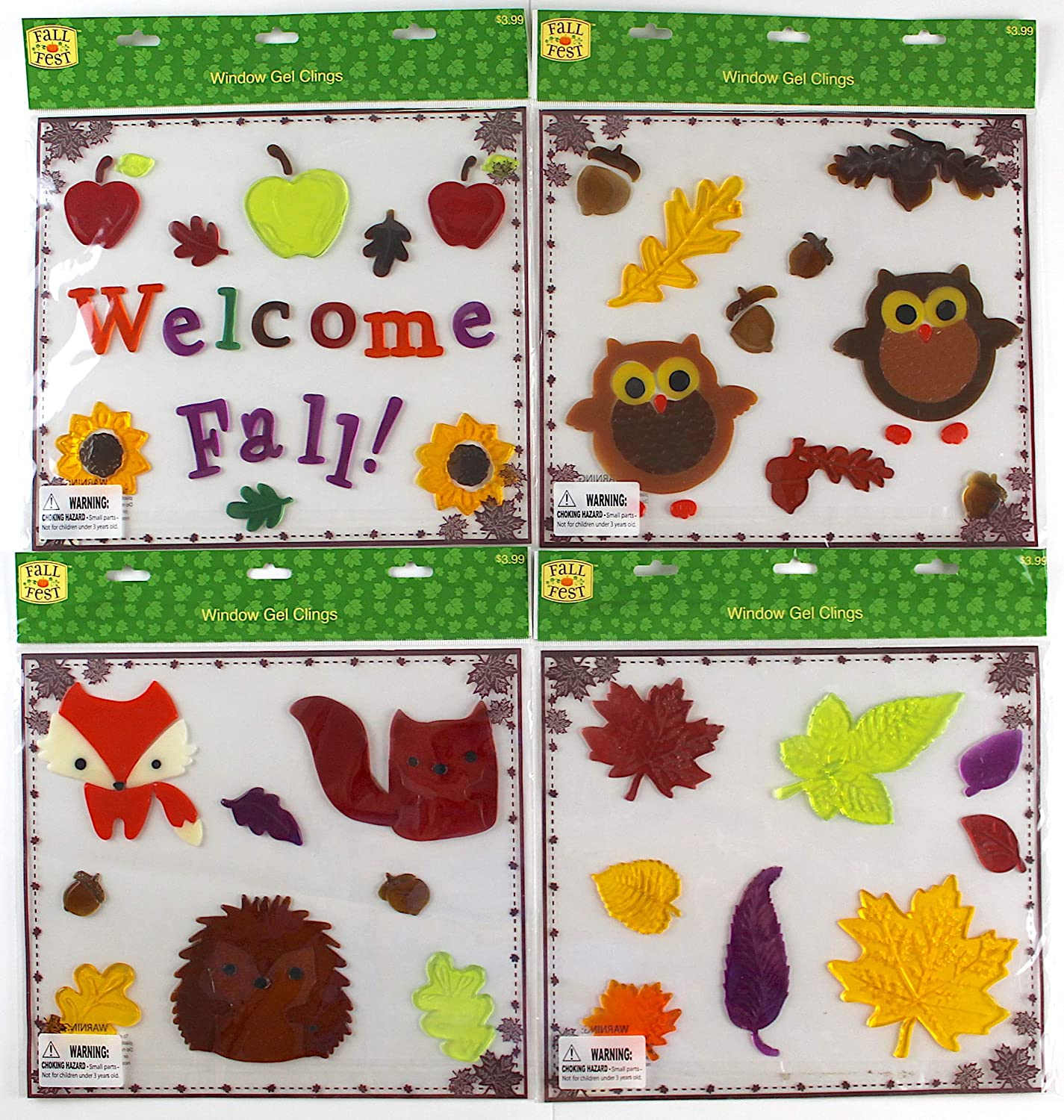 Assorted Variety Fall Gel Clings: Woodland Creatures Owls Fox Hedgehog Squirrel Leaves Decorations for Home Office Windows Mirrors and More Magic Creations