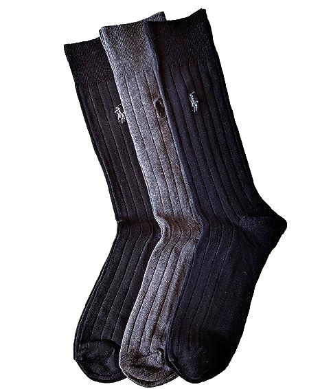 Polo Ralph Lauren Hombre 3 Pack calcetines acanalado vestido (6 ...