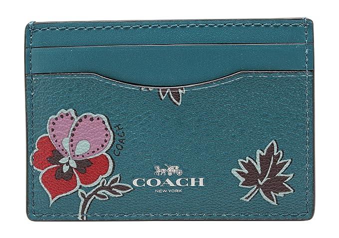 9882b648 COACH F12773 WILDFLOWER PRINT COATED CANVAS FLAT CARD CASE Dark Teal ...