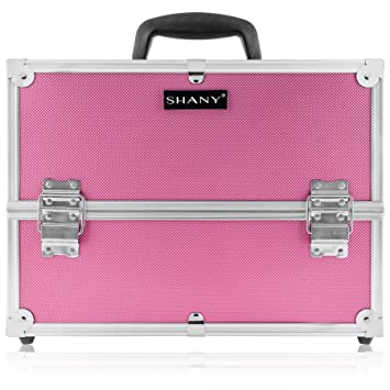 SHANY Essential Pro Makeup Train Case with Shoulder Strap and Locks , Pink