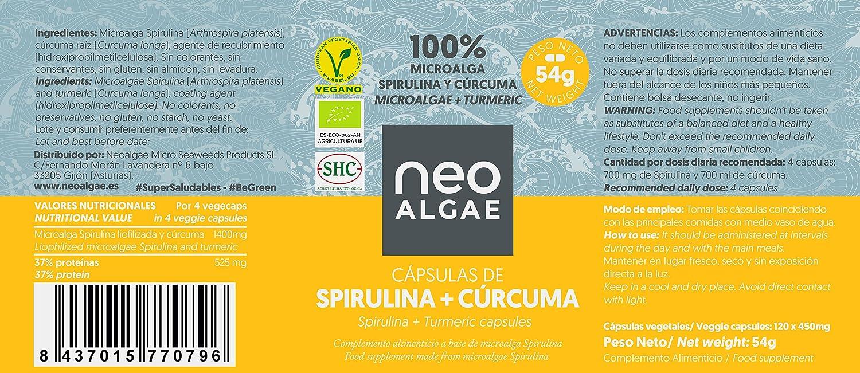 Suplemento de Cúrcuma y Spirulina   Antiinflamatorio Natural   Producción 100% Orgánica y Natural   Efecto Antiinflamatorio y Antioxidante Combinado   350 ...
