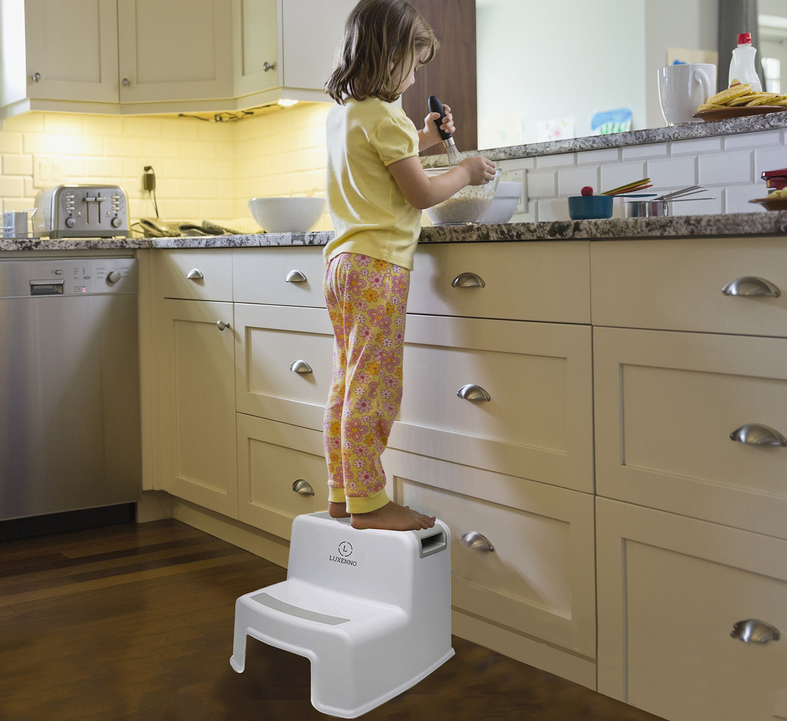 (2 Pack) Dual Height Step Stool for Toddlers & Kids, Nursery Step Stool Potty Training Stool for Bathroom, Kitchen, Two-Step Design with Soft No-Slip Grips and Safe, White & Grey, by Luxenno by LUXENNO (Image #2)