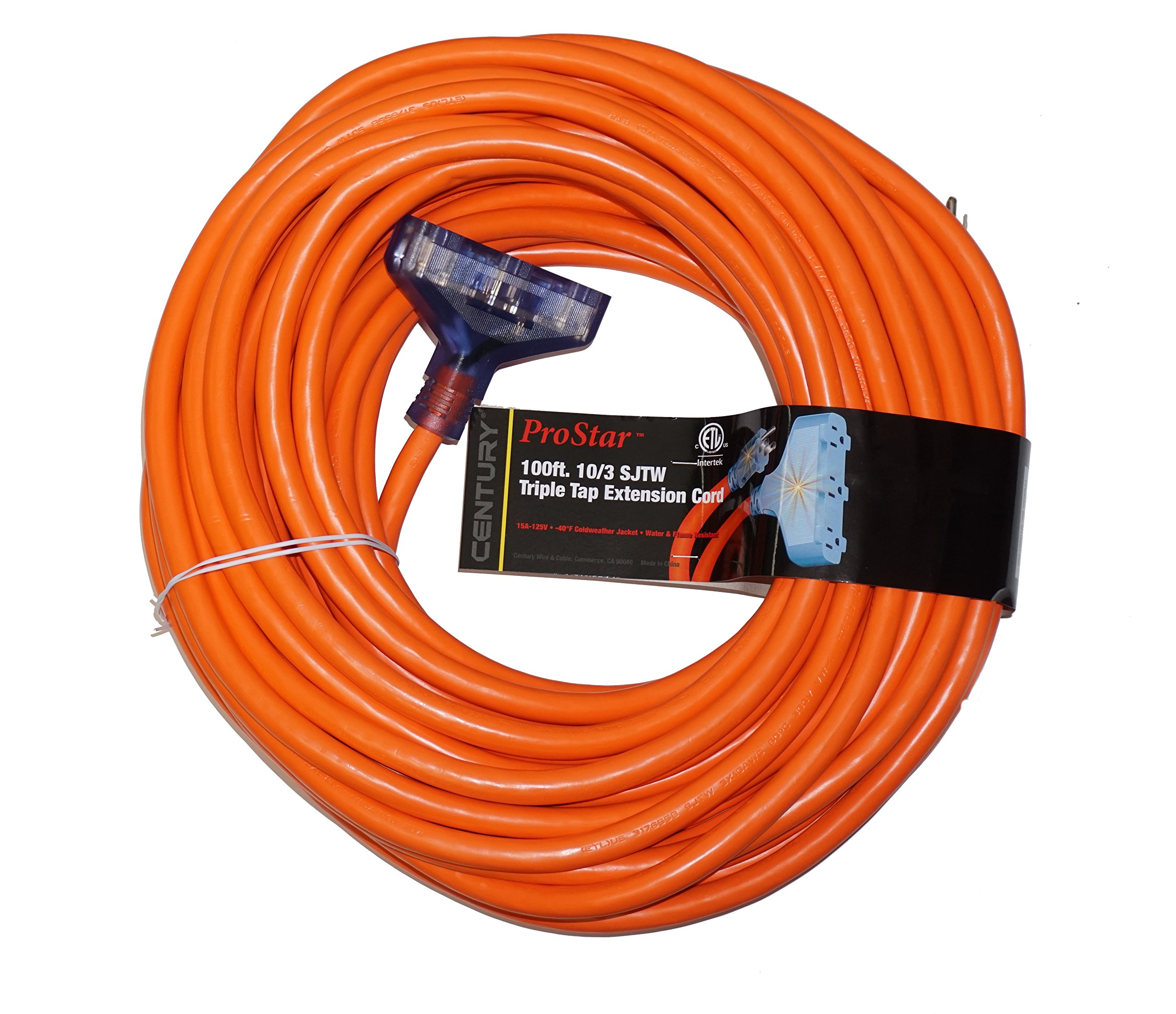 ProStar 100 Foot 10 Gauge SJTW 3 Conductor Triple Tap Extension Cord With Lighted Ends - Orange by Century (Image #1)
