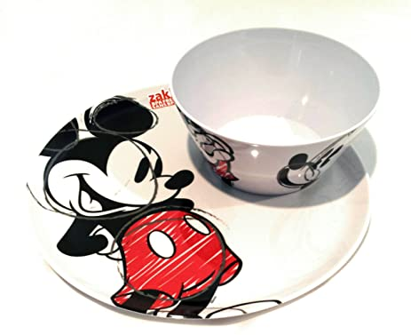 amazon com disney plates bundle mickey mouse plate cereal bowl
