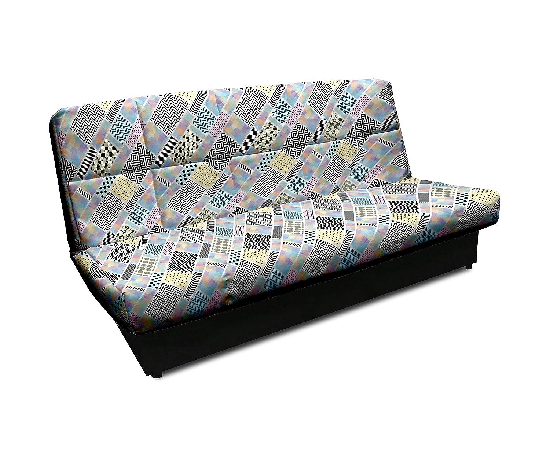 SuenosZzz - Sofá Cama tapiceria RETALES con Apertura Clic clac de fácil Funcionamiento. Medidas sofá: 92 cm Altura x 90 cm Fondo x 185 cm Ancho. ...