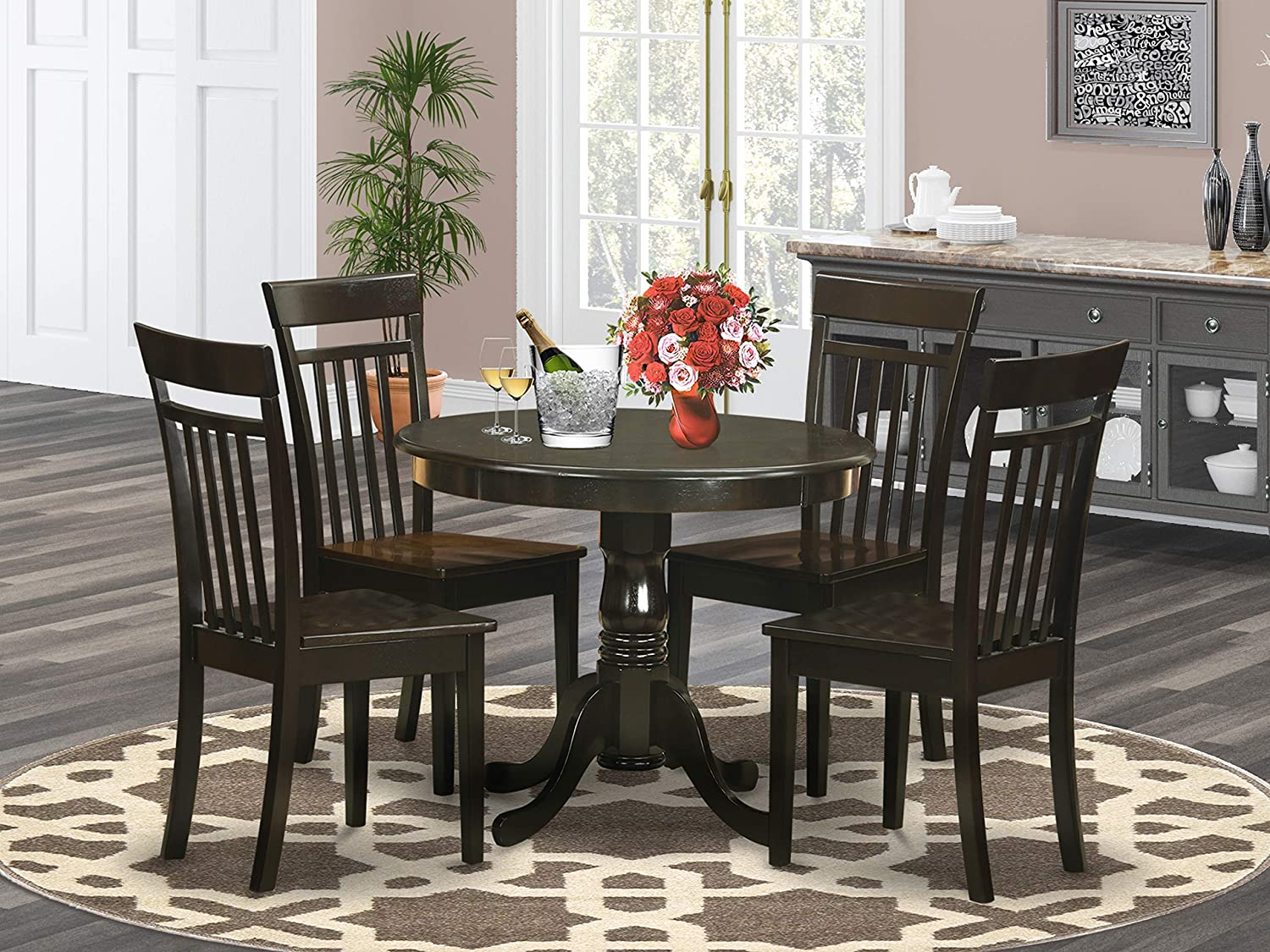 East West Furniture Kitchen Table Set- 4 Great dining room chairs - A Gorgeous Dinner Table- Wooden Seat and Cappuccino Wood Kitchen Table