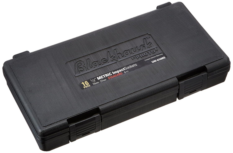 16-Piece Blackhawk by Proto UW-616MS Drive Metric Impact Socket Set 1//2-Inch