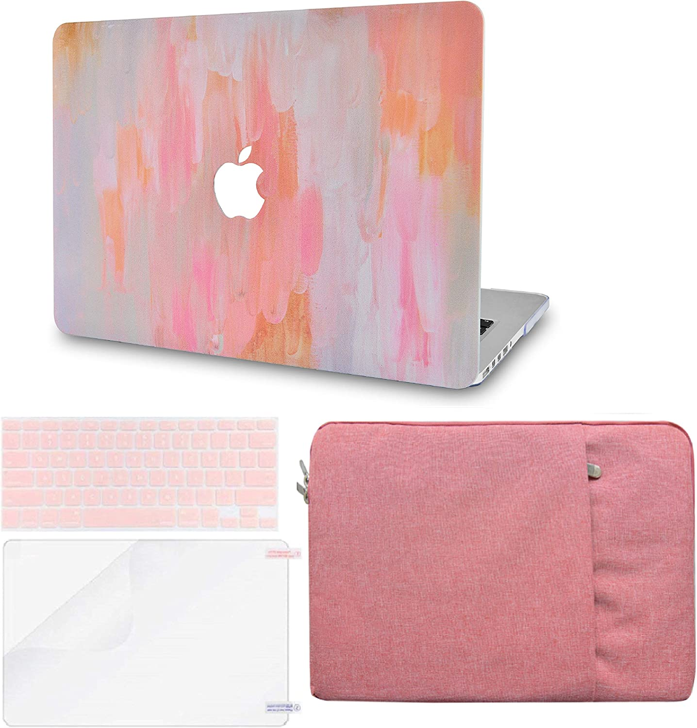 """LuvCase 4in1 LaptopCase forMacBookPro 13""""(2020/2019/2018/2017/2016) w/wo Touch Bar A2159/A1989/A1706/A1708 HardShell Cover, Sleeve, Keyboard Cover & Screen Protector (Mist 13)"""