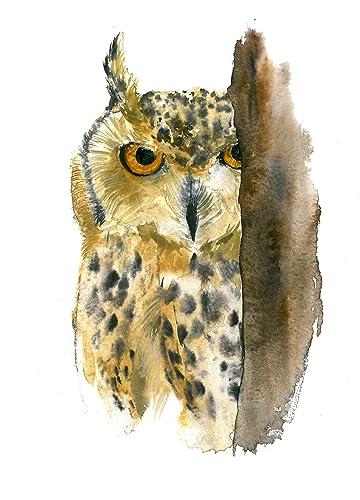 Amazon.com: Owl art #A056. Owl art print (8x10).Owl wall art.Owl ...